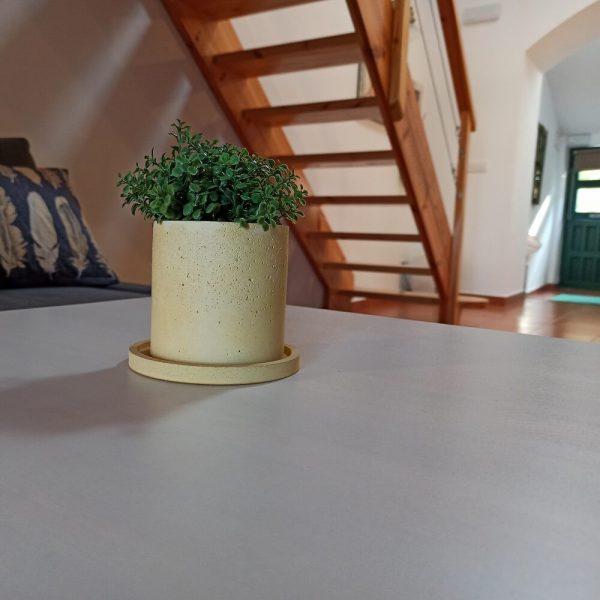 Maceta concreto en forma cilíndrica color amarillo