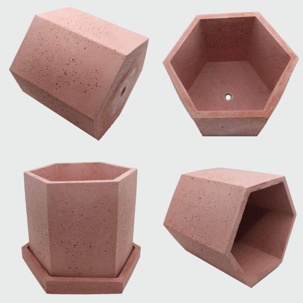 Oferta de Macetas de hormigón hexagonales color rojo