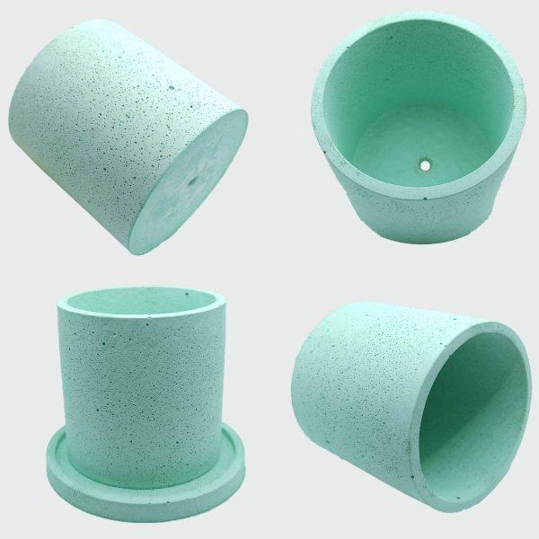 Macetas de concreto cilindricas de color verde a buen precio