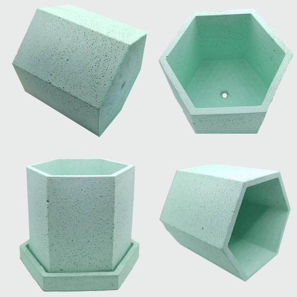 Maceta hexagonal de cemento color verde