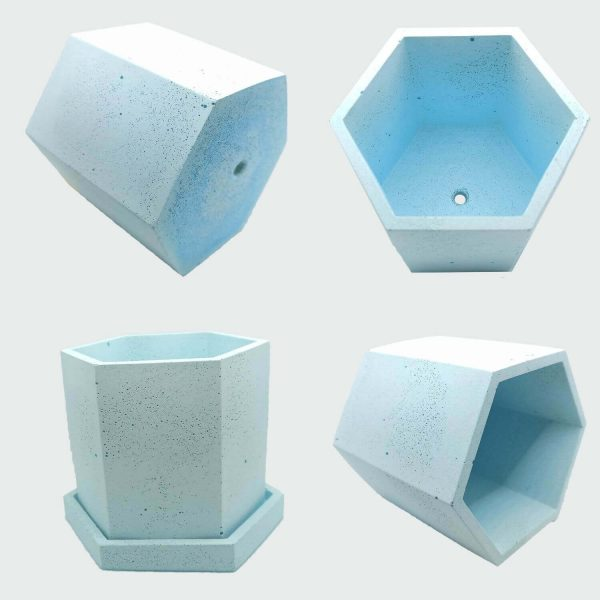 Macetas hexagonales de cemento color azul a buenos precios