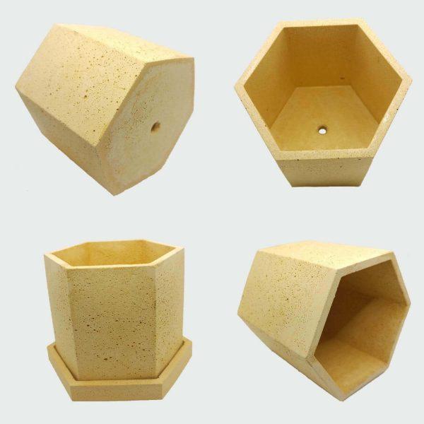 Macetero de cemento amarilla de forma hexagonal económico