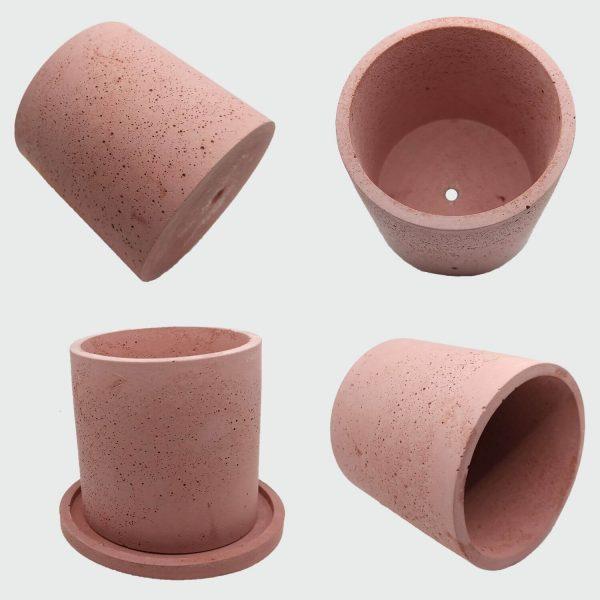 Macetas cilíndricas de cemento color rojo