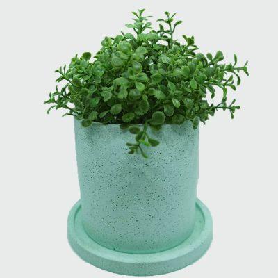 Maceta de cemento cilíndrica color verde