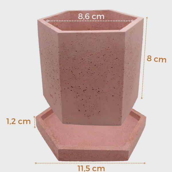 Macetas de hormigón hexagonales color rojo tamaño de escritorio