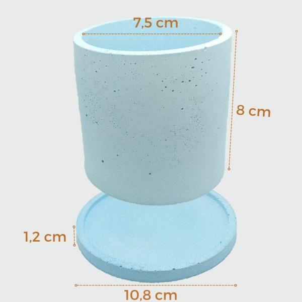 Macetas de cemento cilíndricas color azul medianas