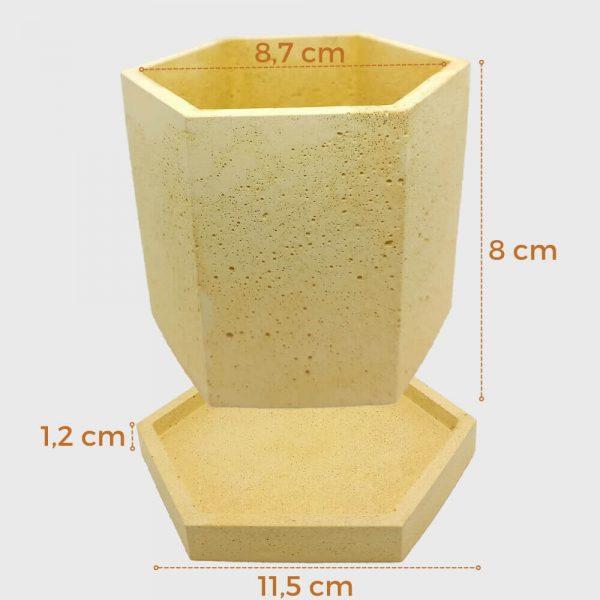 Macetero de cemento amarilla forma hexagonal a buen precio