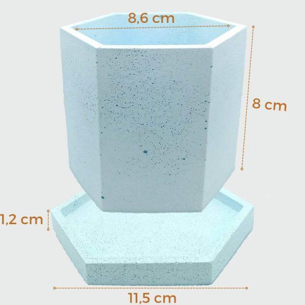 Macetas hexagonales de cemento medidas