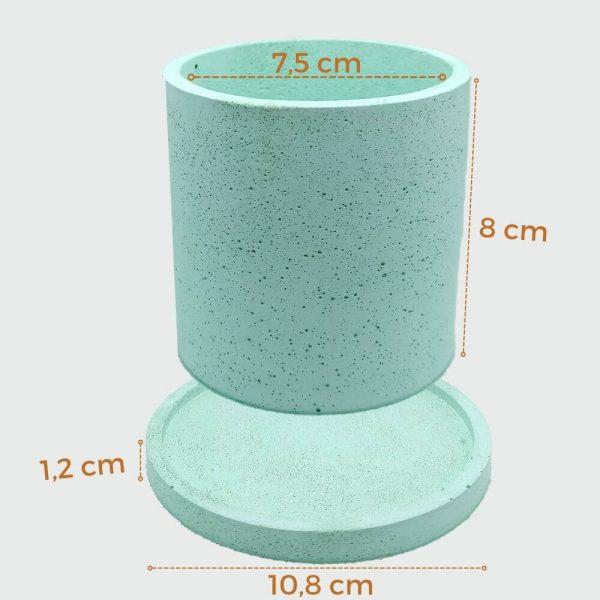 Macetas de concreto cilíndricas color verde 10 cm
