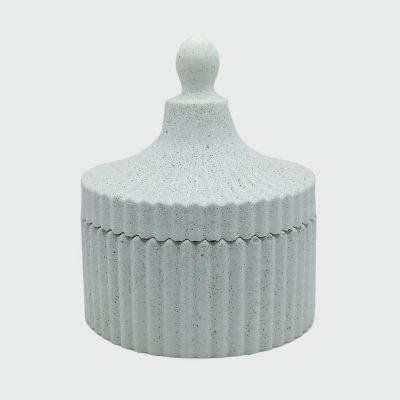 Decorativo Cofre de cemento blanco pequeño en forma de circo para almacenamiento