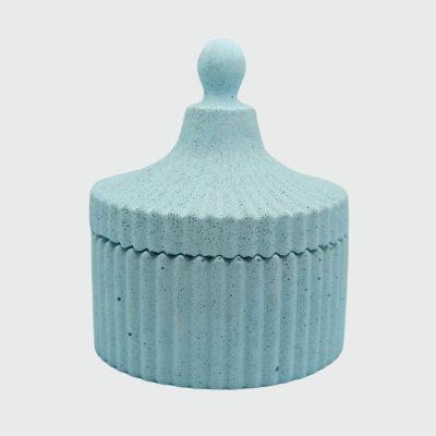 Decorativo cofre pequeño de cemento color azul